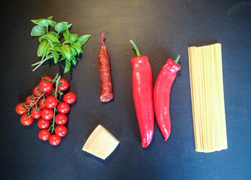 Linguine mit Chorizo, Spitzpaprika & Cocktailtomaten